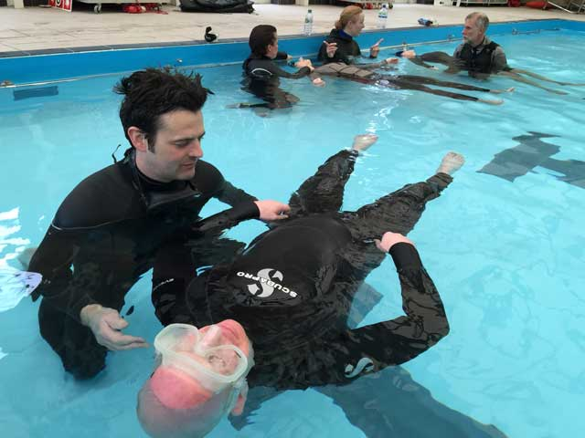 Spearfishing Advanced Safety Skills Course, training in pool