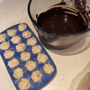 Freediving food, ingredients with chocolate for chocolate and coconut paleo energy Bounty Balls