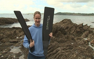 Emma Farrell with Subgear Carbon Freediving Fins