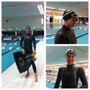 Three views of Rebecca Coales wearing Aqua Lung Sport Apnea Freediving Suit