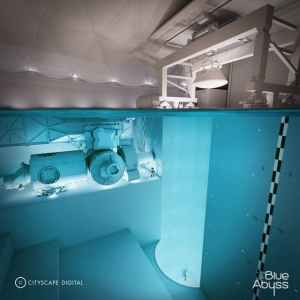 Go Freediving exclusive image of 50m dive pool Blue Abyss