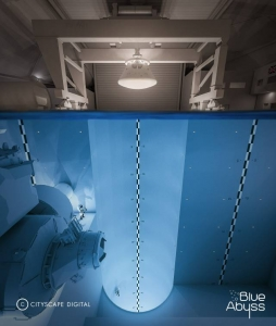 Go Freediving exclusive image from 50m dive pool Blue Abyss