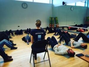 Go Freediving Surf Survival Course students doing breathing exercises with Emma Farrell 2 cc
