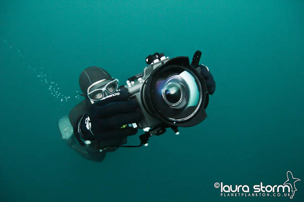 Mark Harris with underwater camera, taken from his book Glass and Water, photo by Laura Storm review at Go Freediving