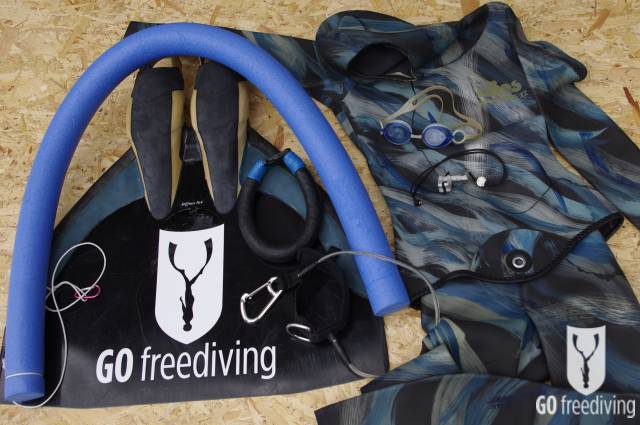 Carl Atkinson constant weight equipment with Go Freediving Monofin, nose-clip, fluid goggles, neck weights, lanyard, noodle and Elios Freediving Suit 2