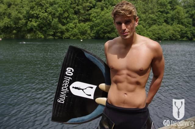 Carl Atkinson topless at Vobster Quay for Go Freediving mid shot with monofin 2