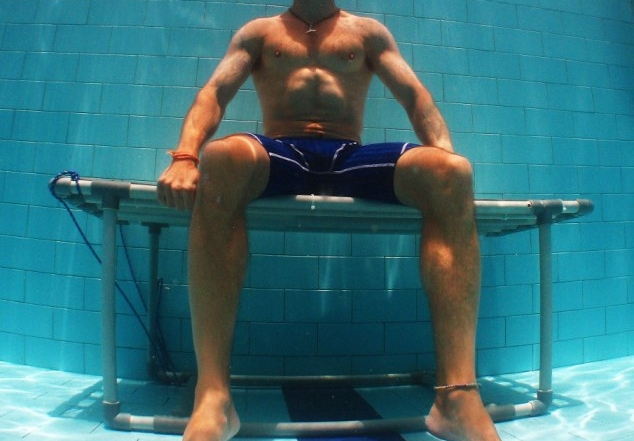 David Kent Freediving training in pool by Andrea K Kiss
