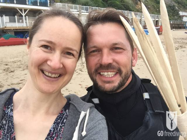 Emma Farrell and Jimmy Doherty on shoot for Spearfishing on Jamie and Jimmy's Friday night feast