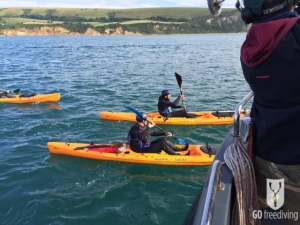 Jimmy Doherty in kayak for Spearfishing on Jamie and Jimmy's Friday night feast
