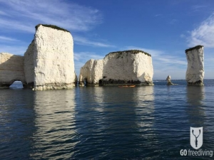 Jimmy Doherty kayakking by old harry rocks for Spearfishing on Jamie and Jimmy's Friday night feast wide version