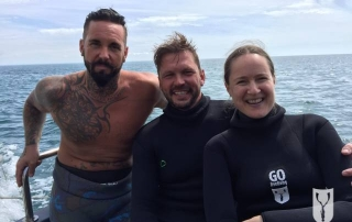 Jimmy Doherty, lee janes and Emma Farrell Spearfishing on Jamie and Jimmy's Friday night feast Shoot