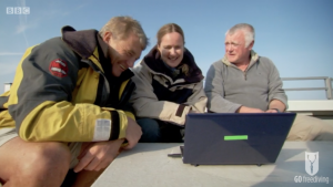 BBC Britain's Secret Seas, the power of the East, Emma Farrell and paul Rose looking at mammalian dive reflex heart rate data in the Farne Islands 3