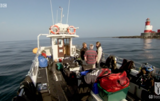 BBC Britain's Secret Seas, the power of the East, Emma Farrell chatting with Paul Rose in the Farne Islands 4