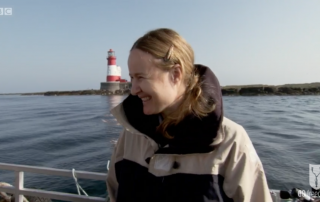 BBC Britain's Secret Seas, the power of the East, Emma Farrell chatting with Paul Rose in the Farne Islands