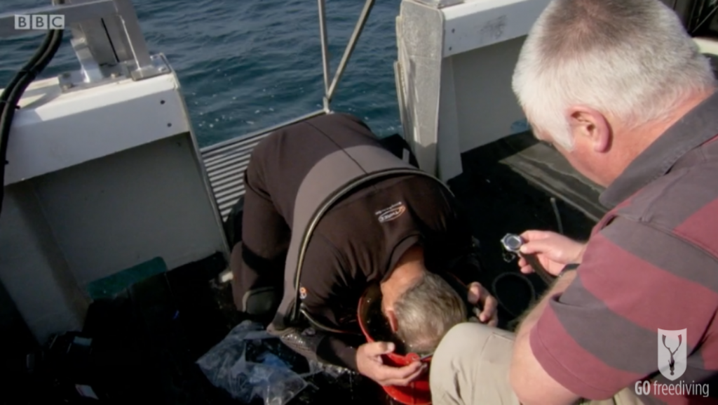 BBC Britain's Secret Seas, the power of the East, Paul Rose showing the mammalian dive reflex in action in the Farne Islands
