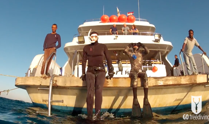 Freediving holiday in the red sea Katherine and Nic on the back of the Whirlwind boat