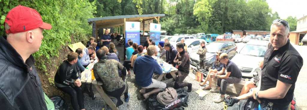 Go Freediving Summer Party 2015 wide shot of John Vickers from Blue Abyss talking