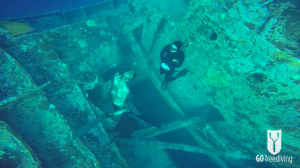 Nic and Jana ascending together from inside the Thistlegorm wreck
