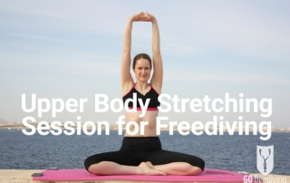 Emma Farrell - upper body stretching session for freediving Photo by Paul Syms