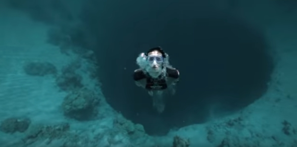 Go Freediving - Freediving film Free Fall - Guillaume Nery base jumping at Dean s Blue Hole image5