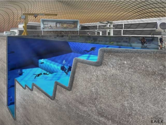 Go Freediving The Spaceflight Bill and Blue Abyss - Artist's impression of the pool