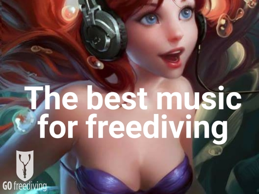 go freediving - the best music for freediving -Ariel with headphones.