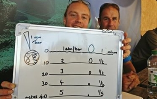 Go Freediving - RAID Freediver Courses in the UK - Felix and Wayne with my drawing of Boyle's law, depth, pressure and lung volume