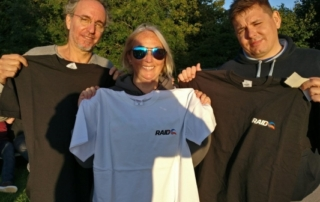 Mark Karasick Pash Baker and Seb won raid Tshirts