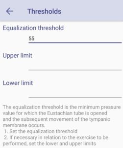Uba Project Equalisation Tool - threshold settings