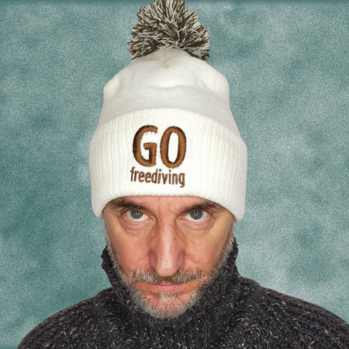 Go Freediving Beanie - Off White and Mocha 2