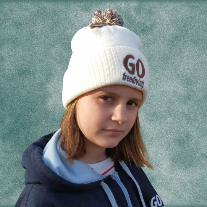 Go Freediving Beanie - Off White and Mocha 3