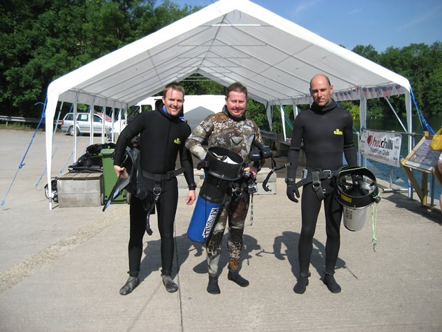 Go Freediving instructors at Vobster Quay with DPV scooters