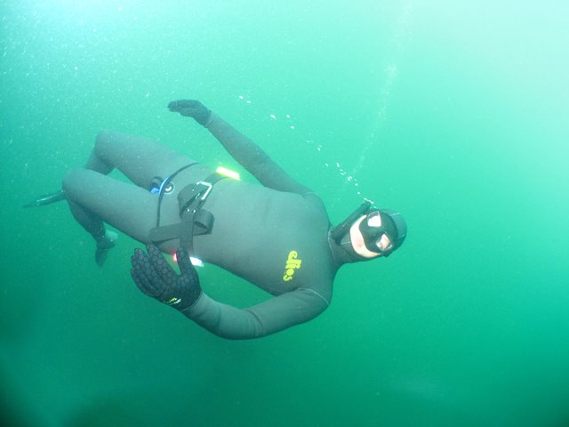 Freediver underwater at Vobster Quay