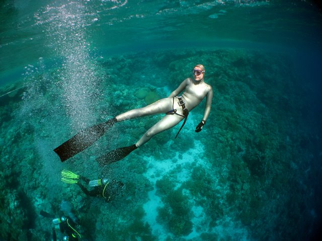 Emma Farrell freediving on Jackson Reef in the Red Sea, Egypt, with scuba divers in the background